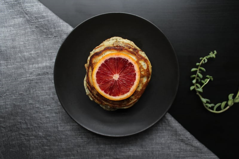 blood orange pancakes poppy seeds mindful eating