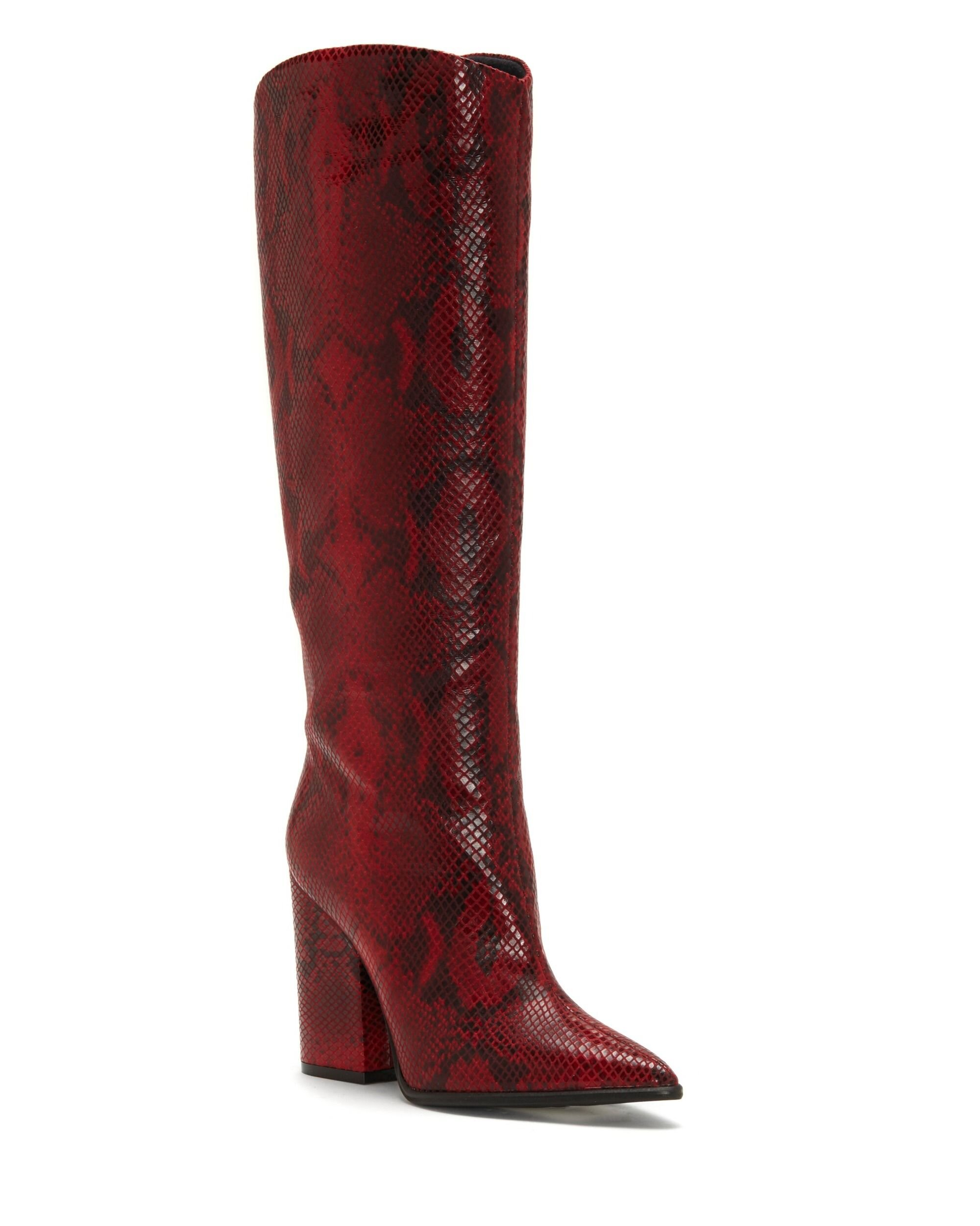 Red Knee High Boot - by Vince Camuto these boots are bad ***. I love the block heel and the pointy toe! These boots are perfect to wear with skirts and dresses.