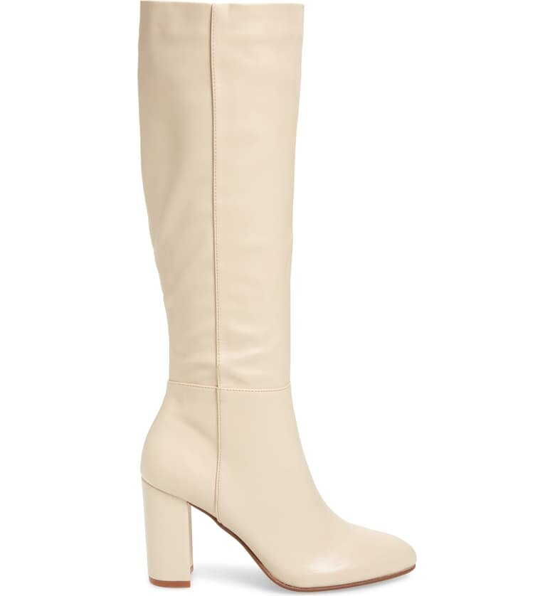 A Off White Knee High Boot - Under $200 these beauties will match almost anything and will look so good with midi skirts. Buy them here