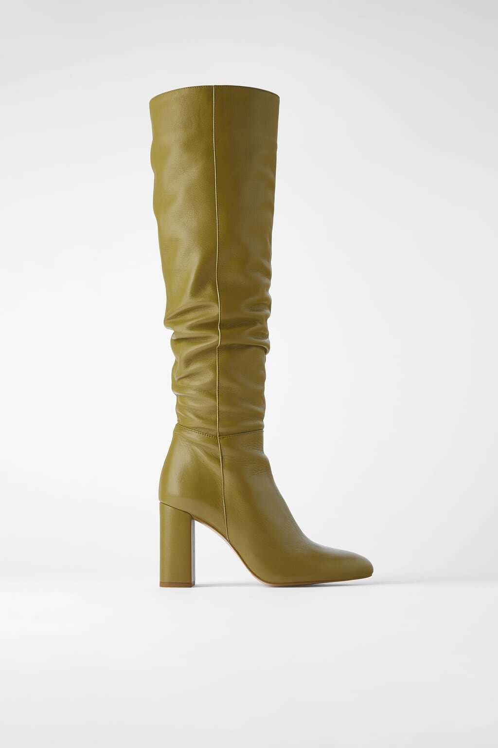 Green Leather with a perfect heel - Now this pair is great because you can adjust the amount of slooch it has. I think these would be perfect with army green pants. Buy them from Zara here.