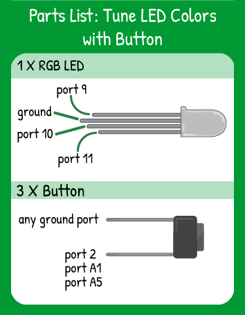 Tune LED Colors with Buttons Hookup: 1 multicolor LED in pins 9,10,11 and 3 buttons in pins A5, A1, and 2. Remember the longest leg of the multicolor LED is ground.
