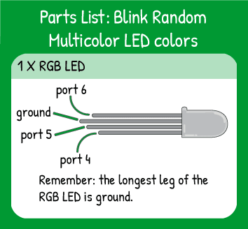 Blink Random Multicolor LED Colors Hookup: 1 multicolor LED on pins 4,5,6. Remember the longest leg of the multicolor LED is ground.