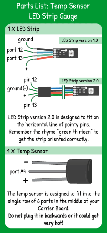 Temperature Sensor LED Strip Gauge Hookup: 1 LED strip with red wire in +, green in 13, blue in 12, black in ground. 1 temp sensor in horizontal pin A4.
