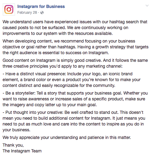Instagram's response to shadowban
