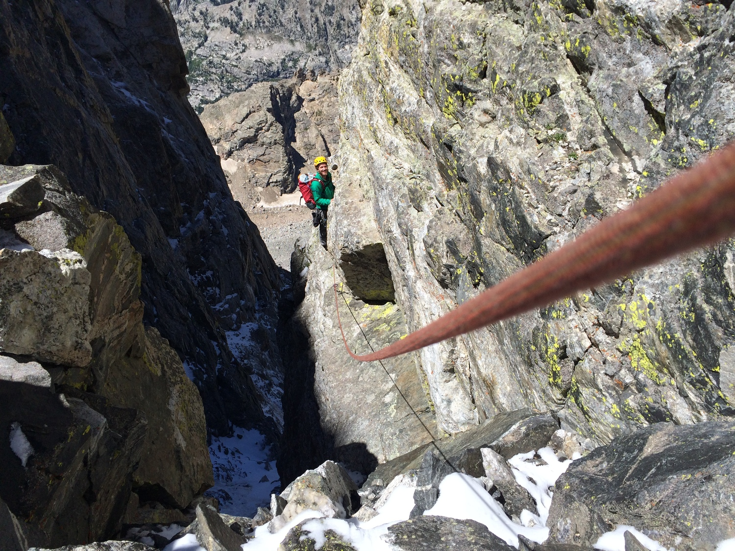 Incredibly exposed ledge traverse. The drop into the dark and scary notch was probably about 400 feet, but thats what ropes are for!