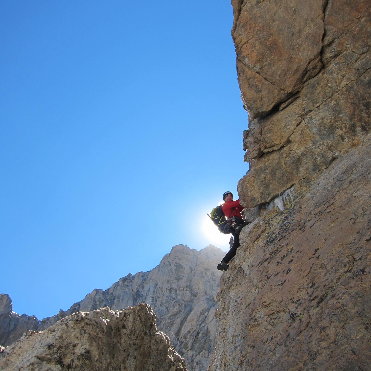 """Jeff leading the second pitch out of the Gunsight, the """"Golden Horn Pitch"""". Rolo describes this as the best pitch of the traverse, and it was pretty awesome!"""