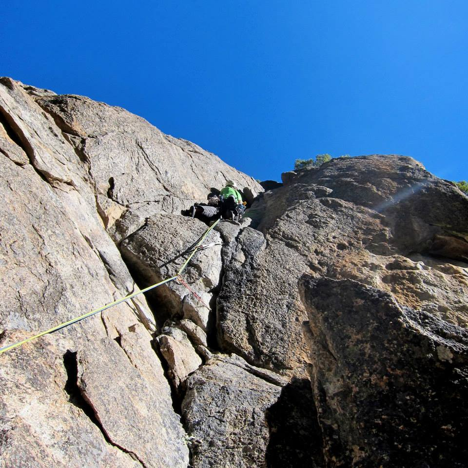 Ken leading one of the steepest pitches of the route.