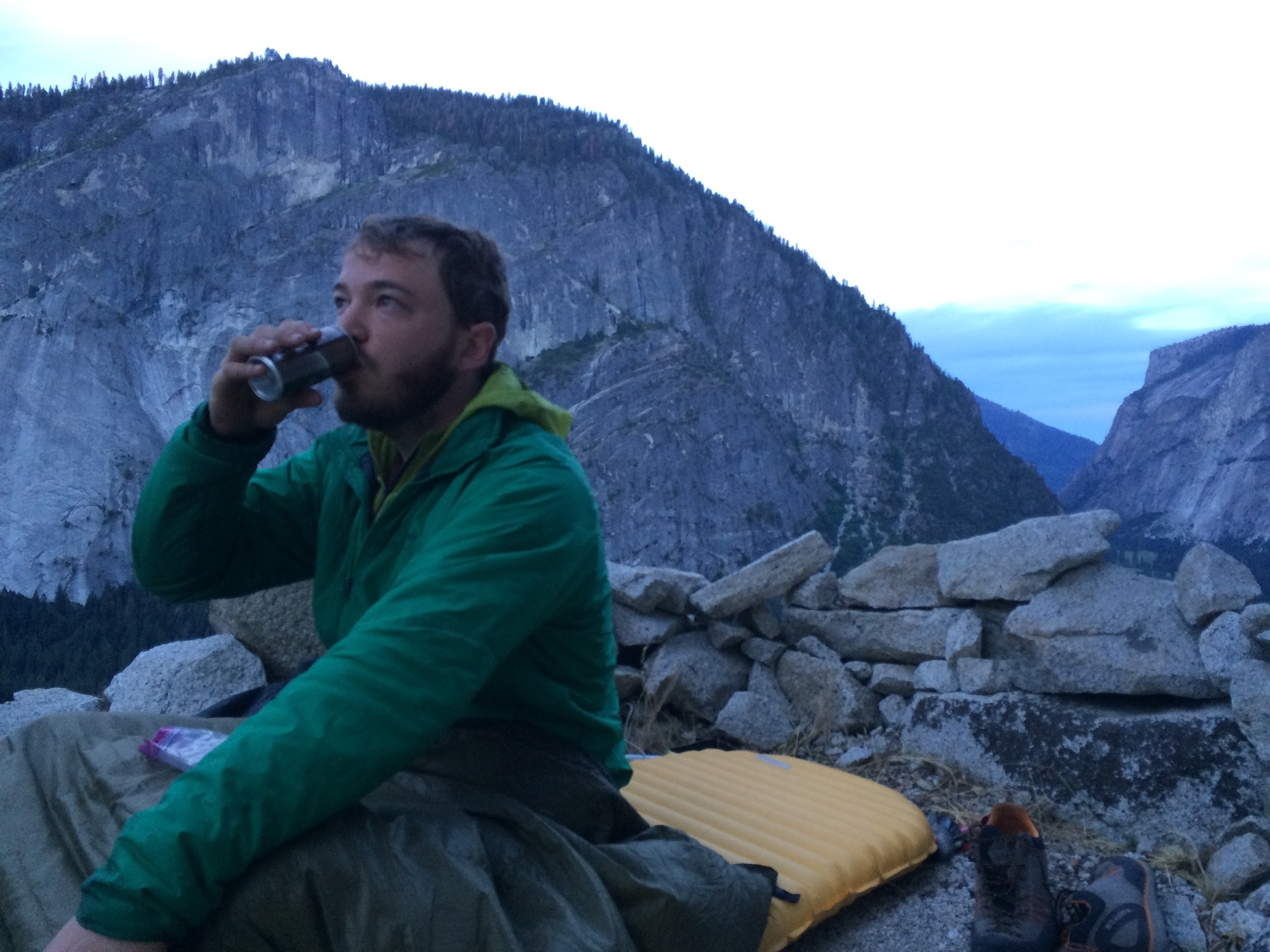 Waking up on day 2. One line to jug and 6 more pitches to the top!