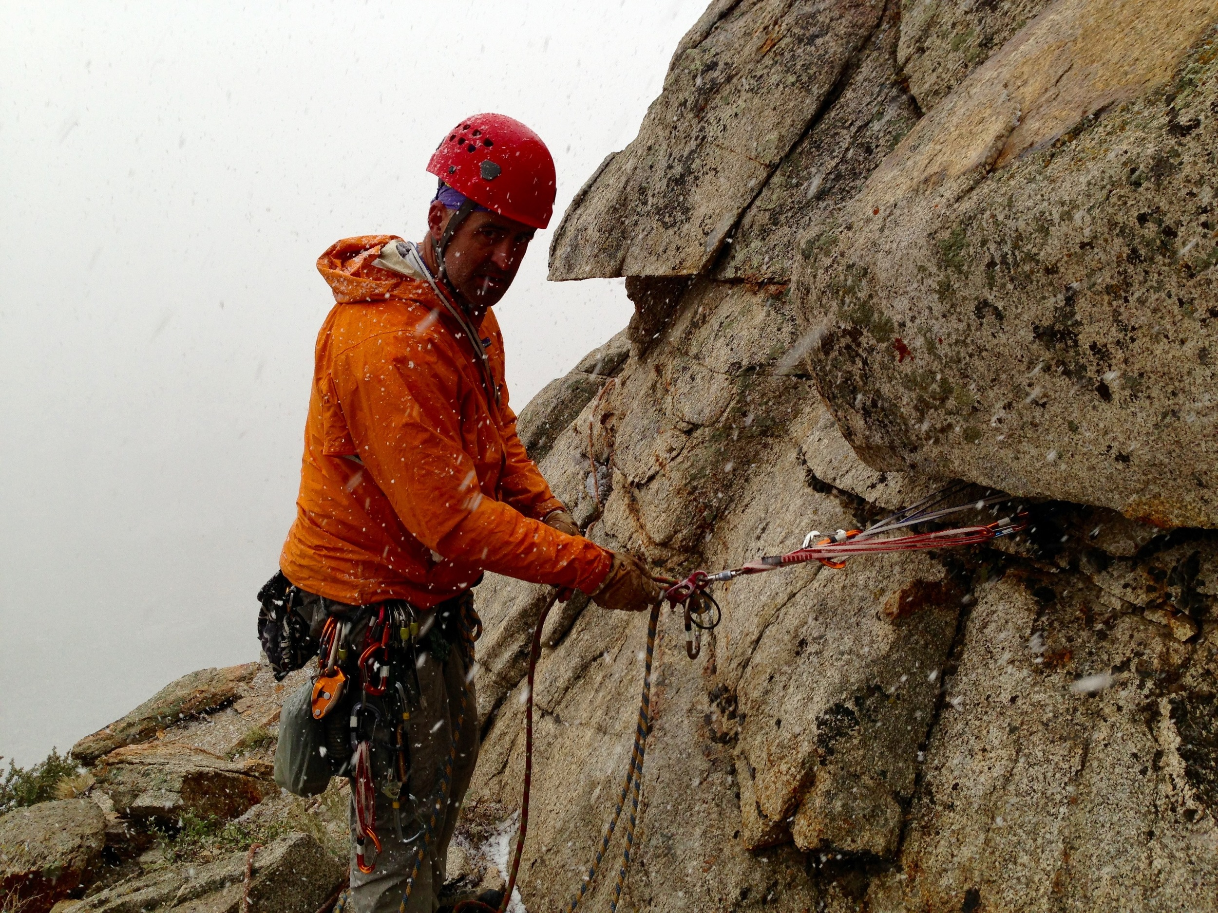 We did another climb in Pine Creek Canyon, and got caught in a snowstorm about 5 pitches up.