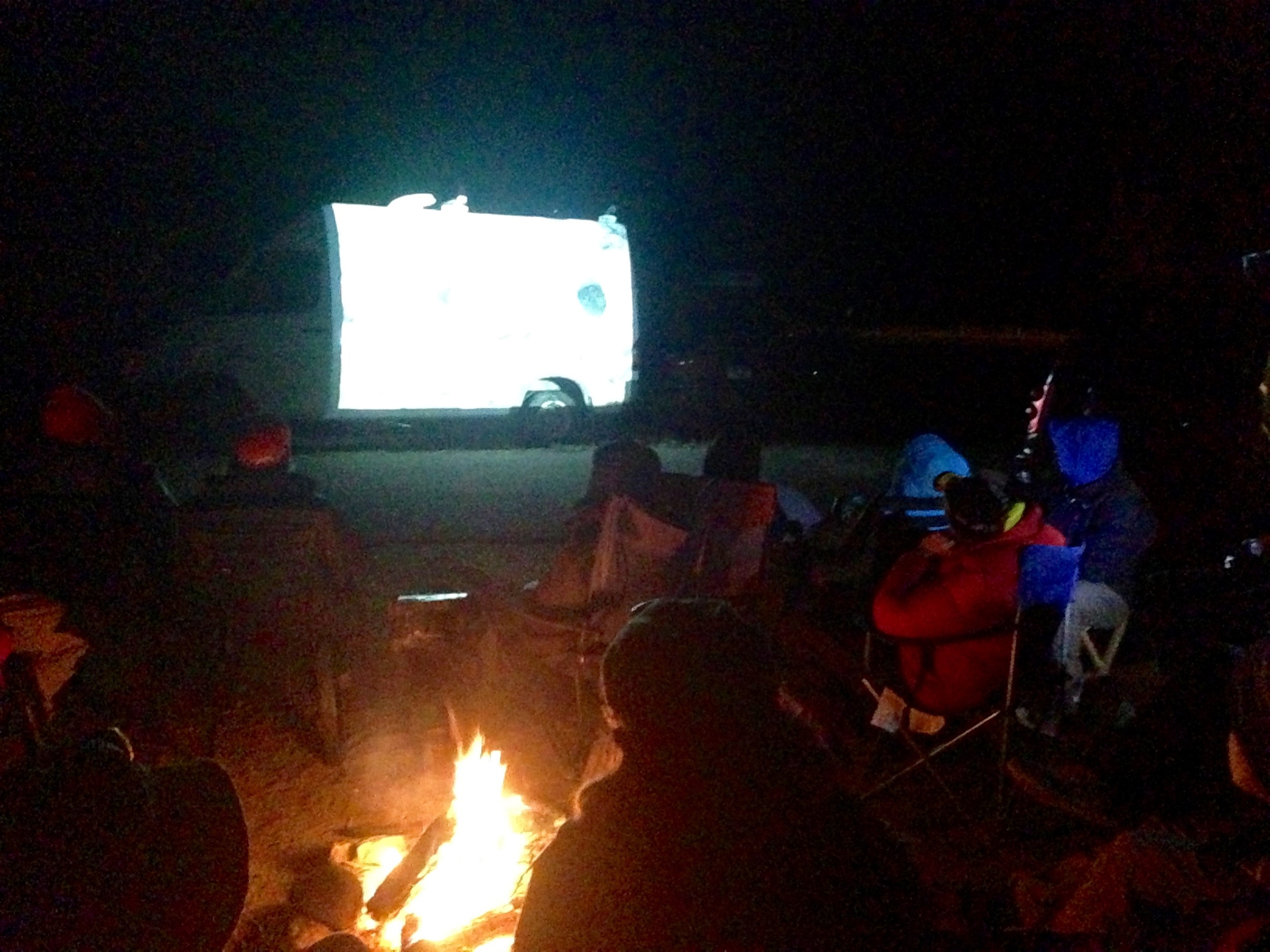 Watching Reel Rock projected on the side of a van!