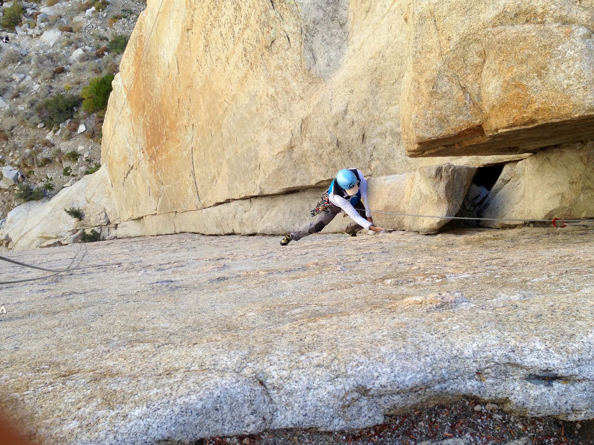 On one of our last days we returned to climb at Pine Creek Canyon. Here, Paul follows on Shiela, a 5.10a that was a full 70m.