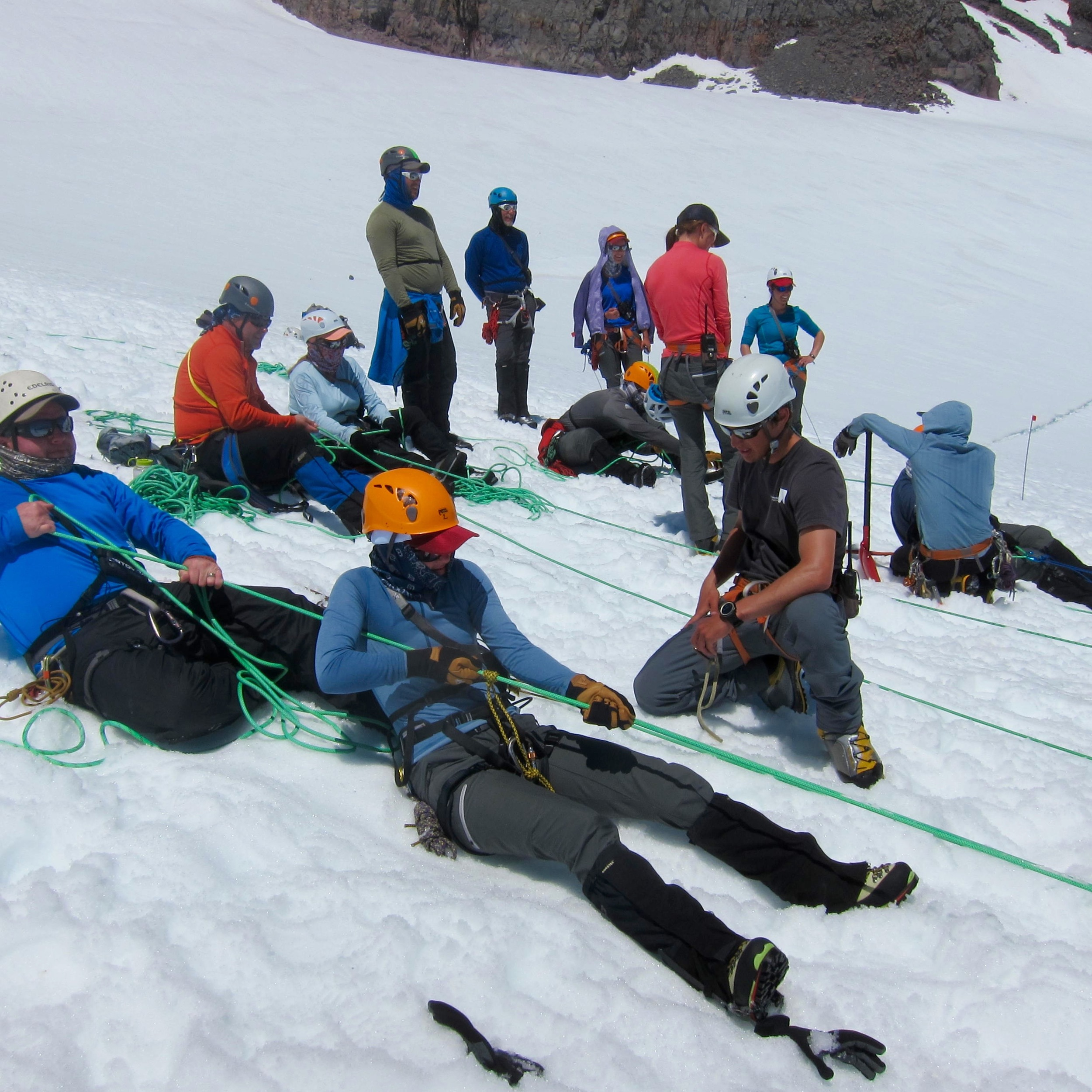 Crevasse rescue practice. Don't forget your prusiks!