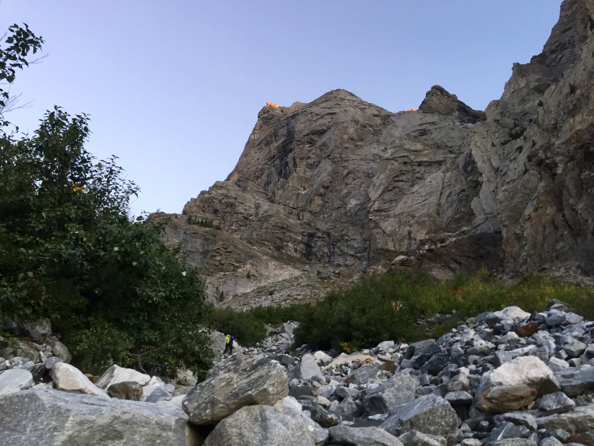 First light hitting the top of the buttress