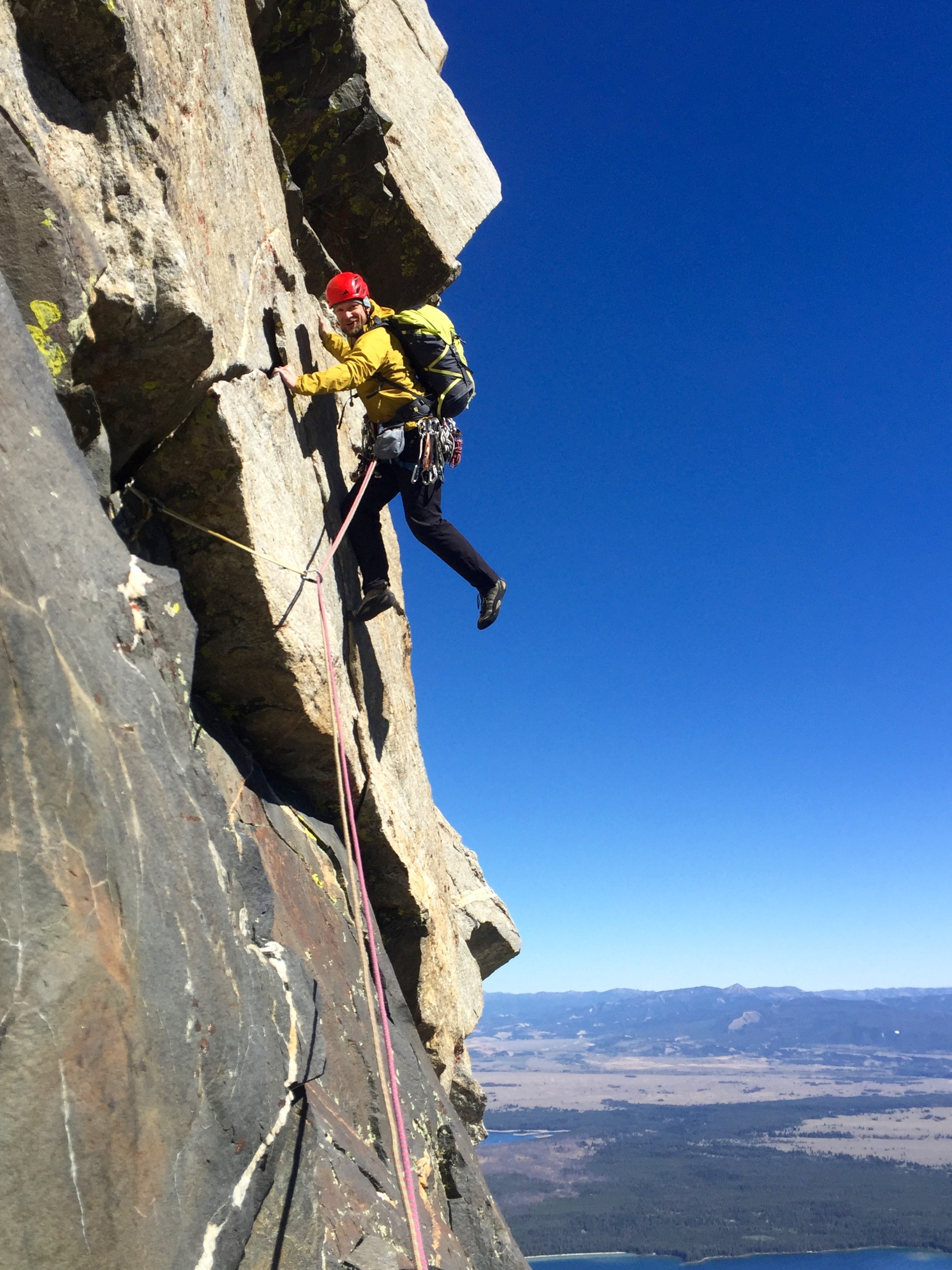 The last pitch of the DSB route was a 5.5 super exposed hand traverse. Jeff made some great poses on the lead!