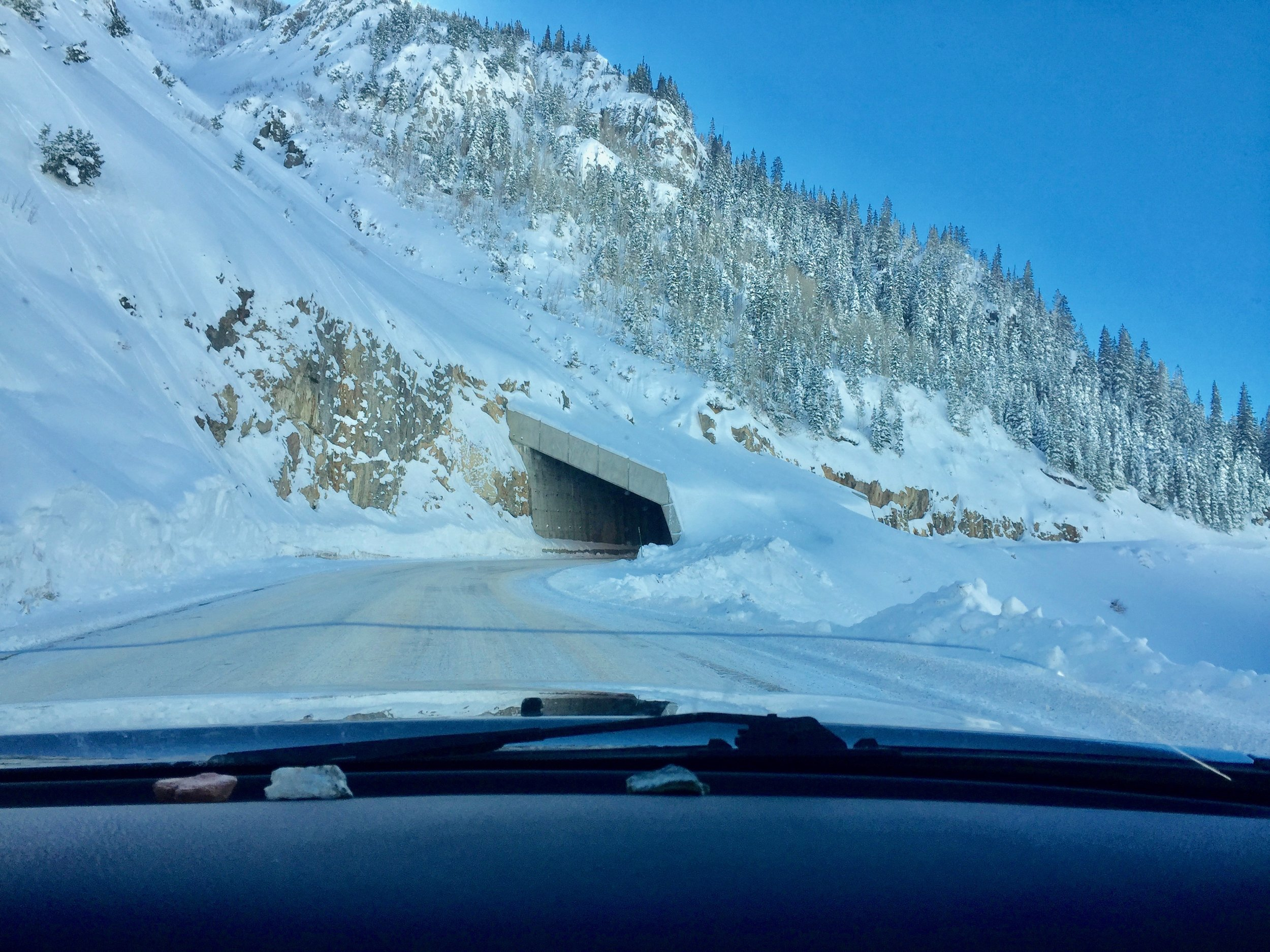Avalanche shed over the road. Not something you see on the east coast!