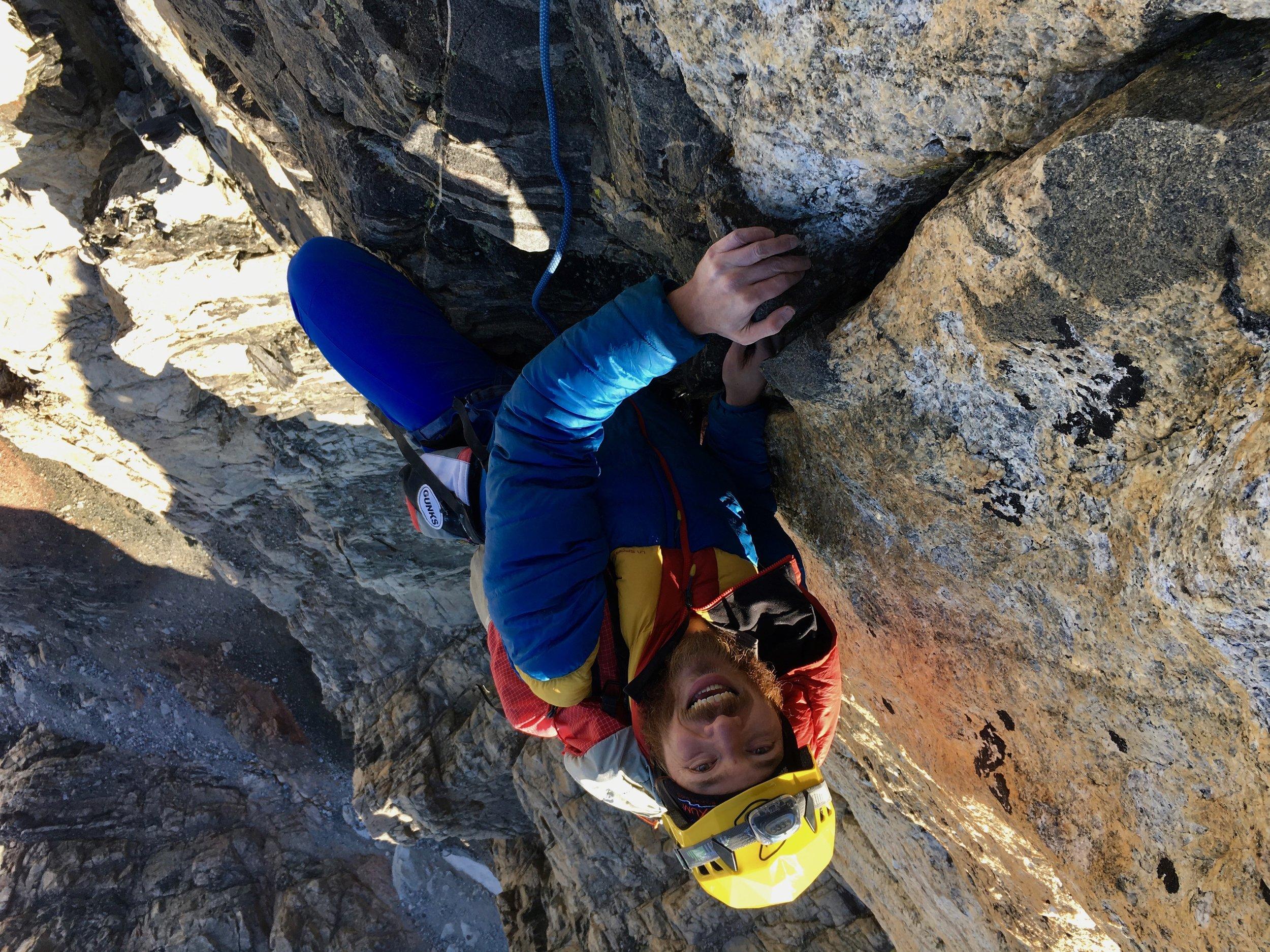 Steep climbing on the Lower Exum!