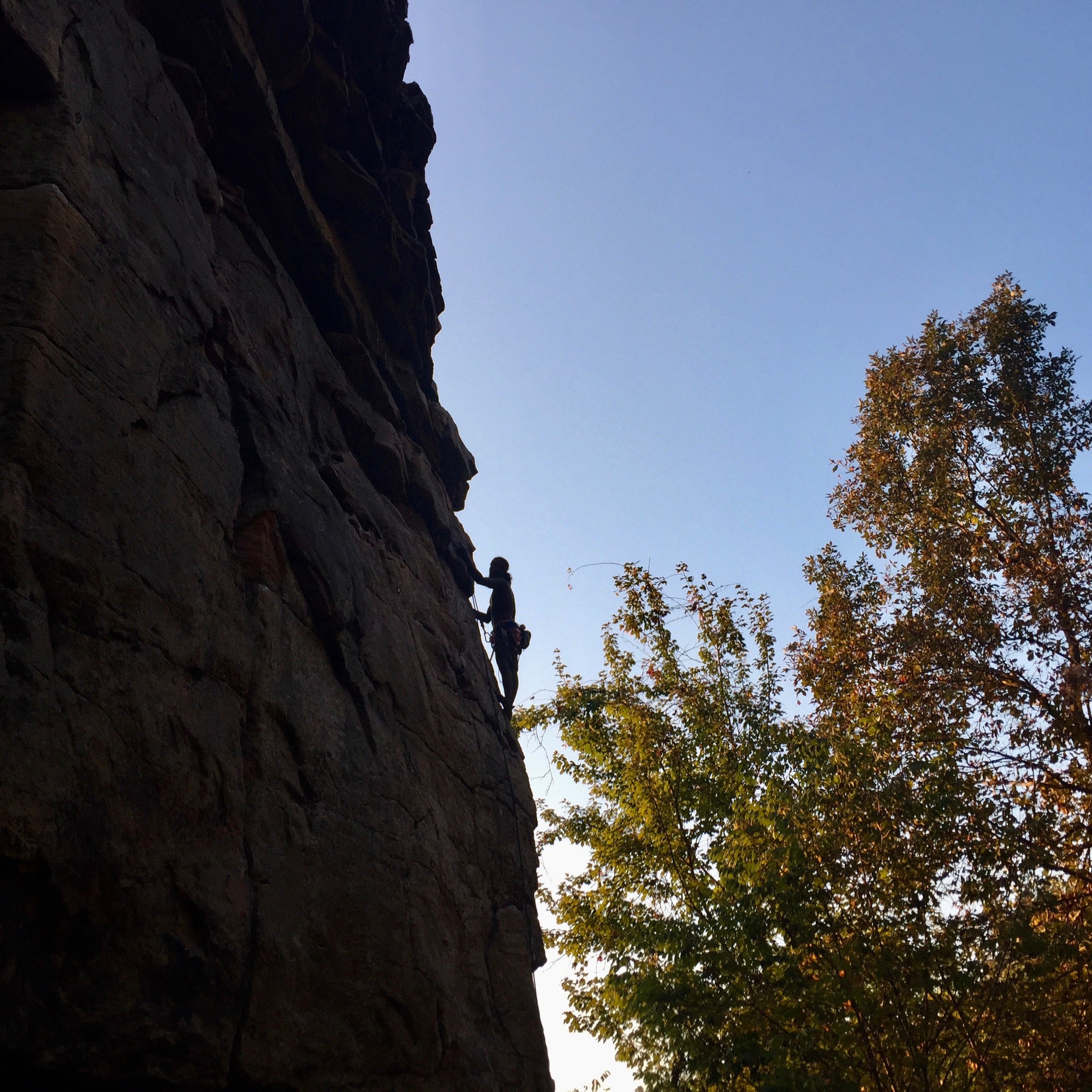 Another climber on a 5.8 arete, one of the last routes we ticked