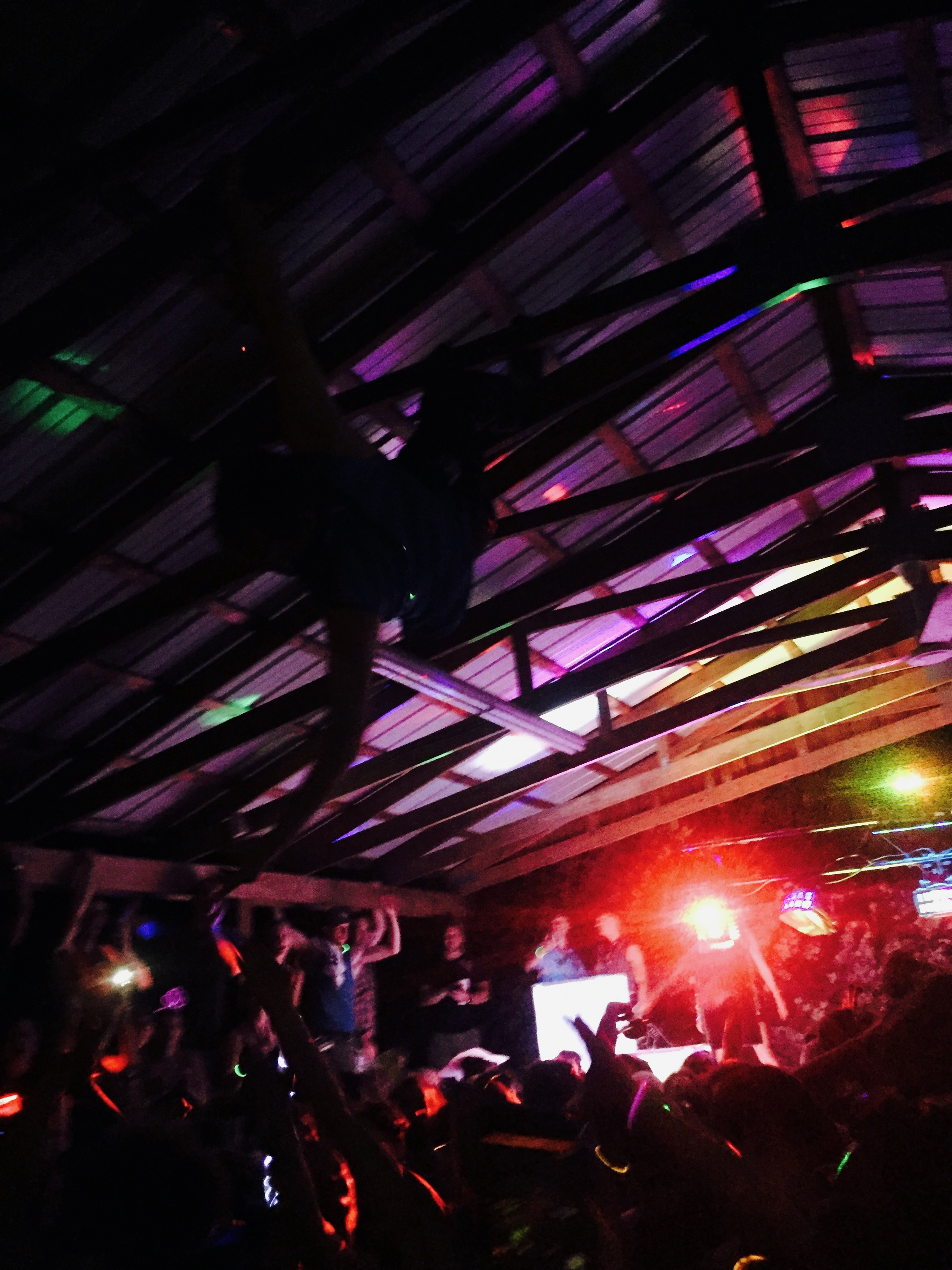 The afterparty, complete with people hanging from the rafters!