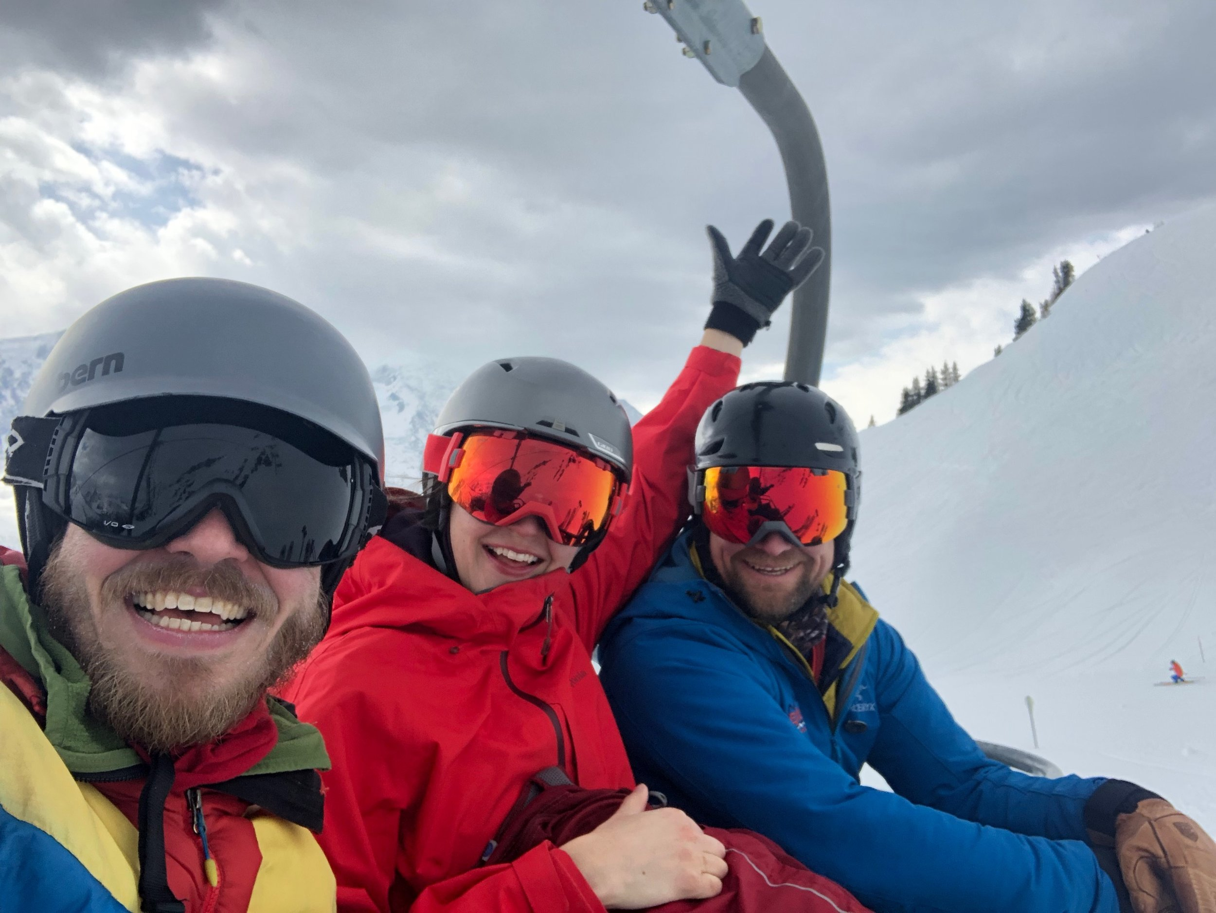 First day skiing in Cham! Virginia tore her ACL earlier in the season, and was having surgery the following week, but that wasn't going to slow her down.