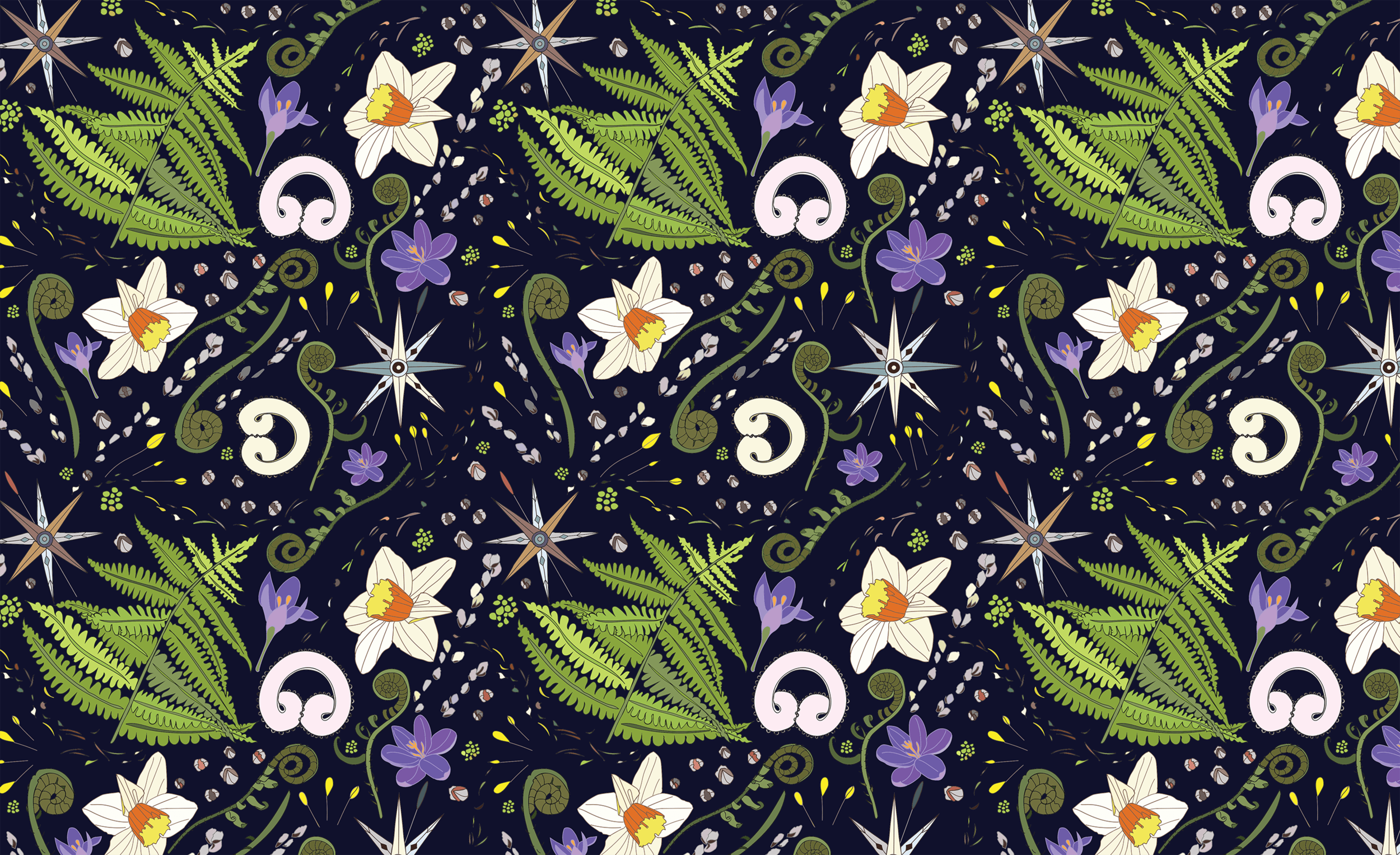 Spring Wind Pattern repeat with dark background