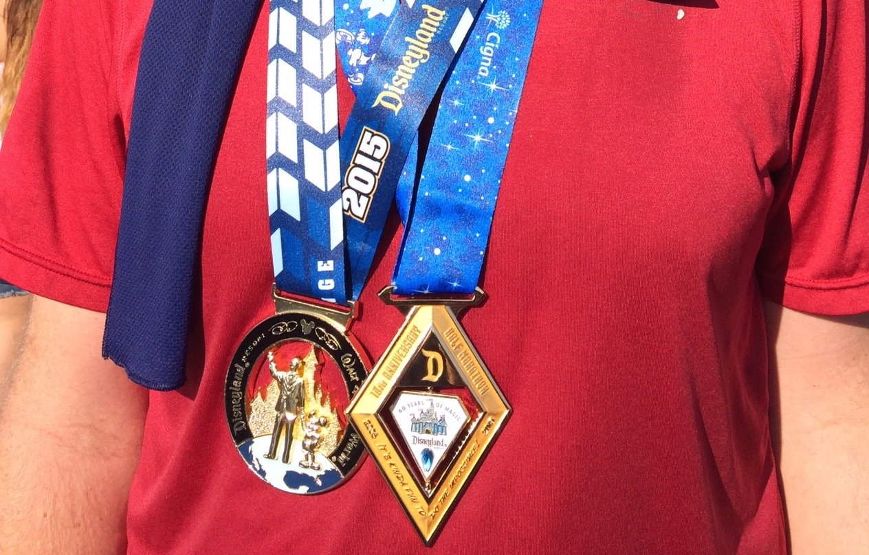 The half marathon medal inner part actually spins and has two faces!