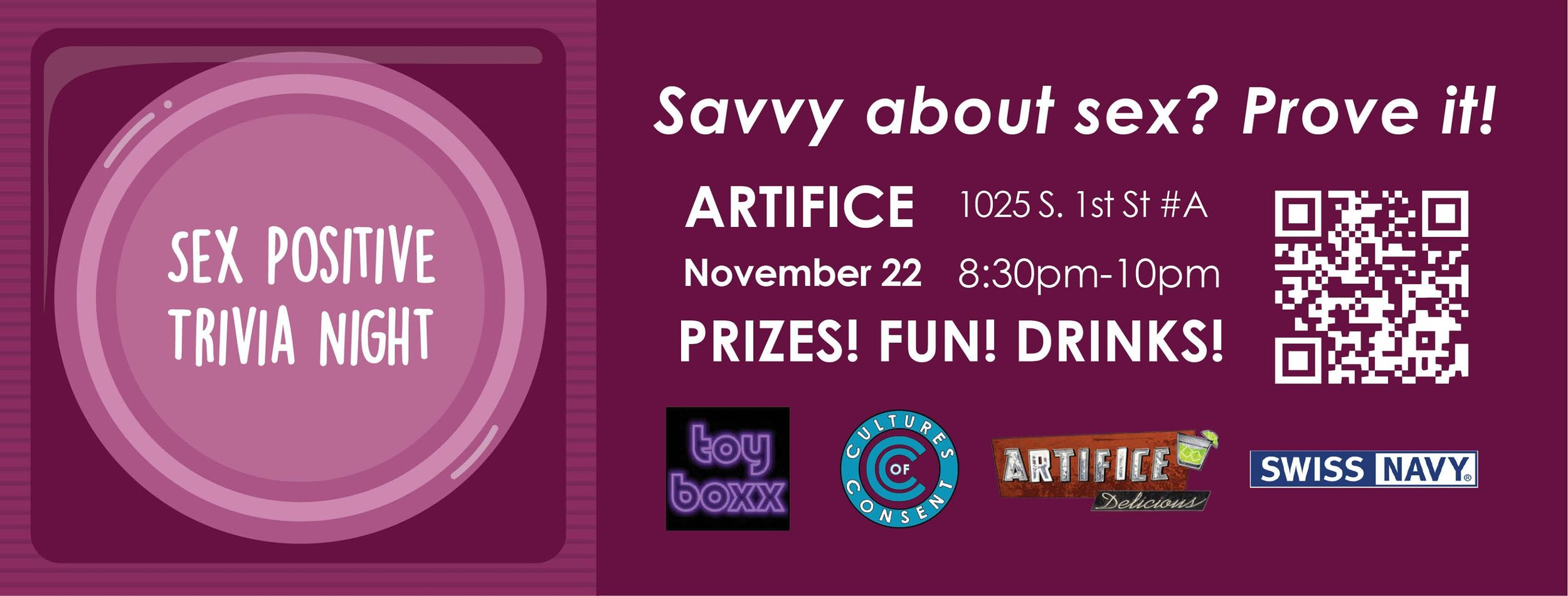 Our second sex trivia night will be held at Artifice in Las Vegas!