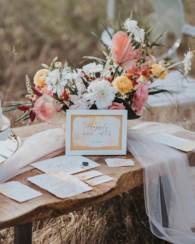 So many talented artists came together to make this shoot happen and I was honored to be a part of it!  The beautiful florals are by @_potsnpetals_ 💐  The invitations all hand done by @eventscript (it had our actual names on it 😱 so weird seeing lol.) And of course @savanamayfield as the incredible photographer who captured it all. 📷
