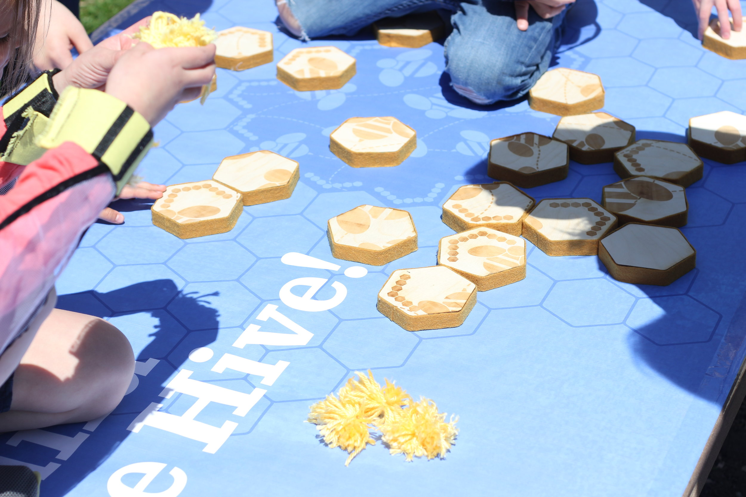 Kids worked together as bees to complete the nectar puzzle, which we made out of CNC'd MDF layers with an etched design and wrapped with honey colored felt.