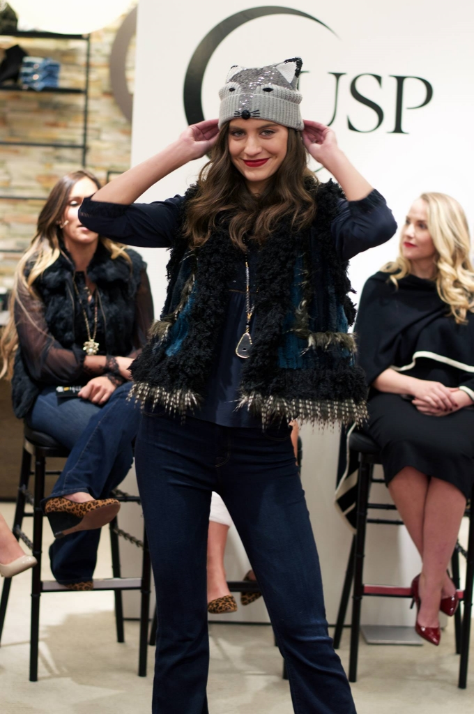 My girl Carleen Laronn wearing Paige Premium dark-wash flare jeans, Rebecca Taylor navy and black silk blouse, Anna Sui Vest, Pendant Necklace, Fancy Fox hat.  All found at Neiman Marcus' CUSP.