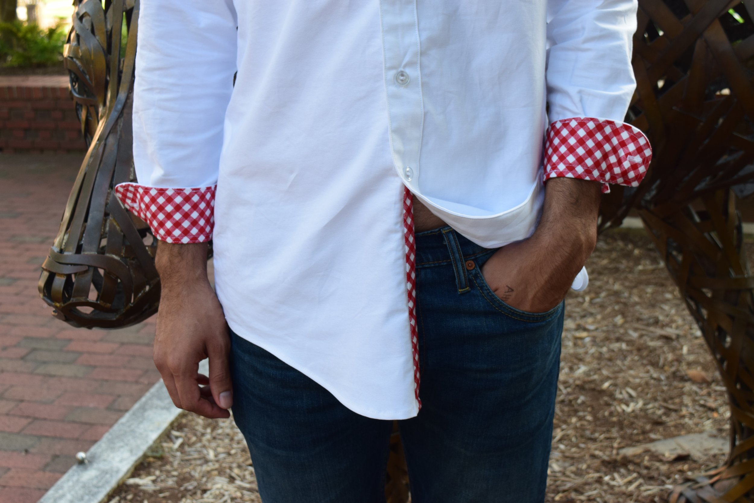 Contrast Cuff and Front Placket