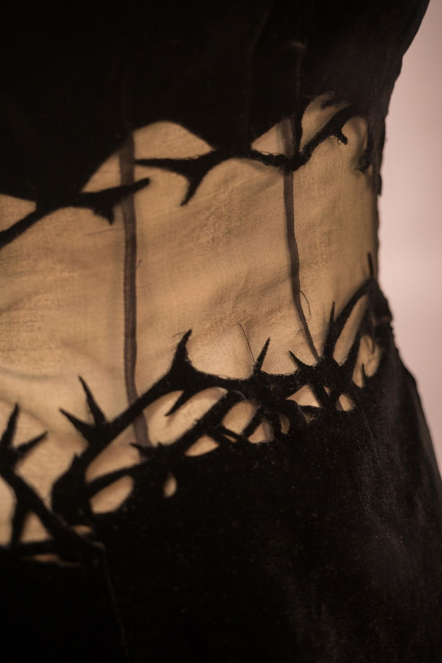 Close Up of Hand Appliquéd Laser Cut Silk Velvet