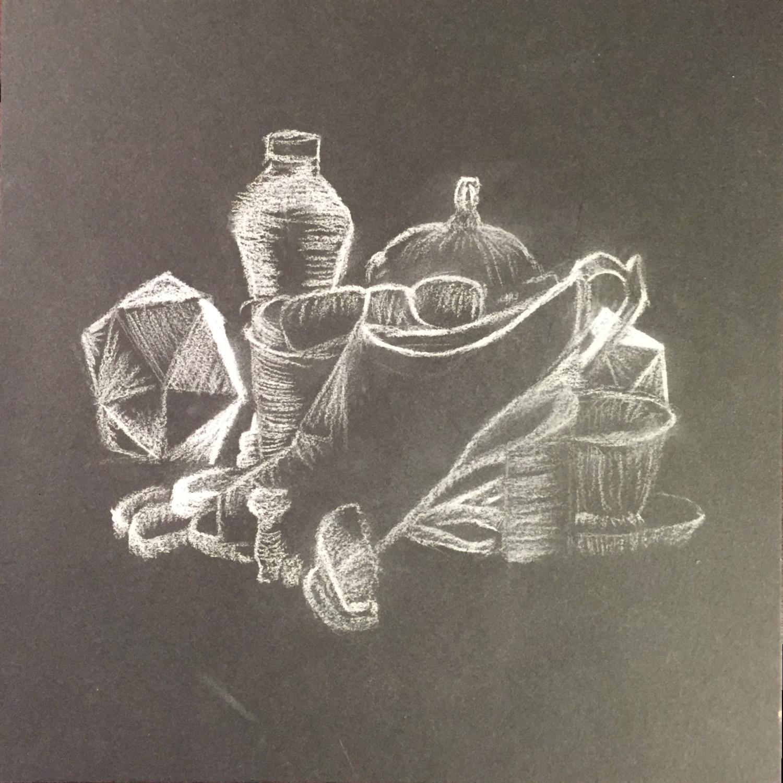 Still Life in White Graphite on Black Paper