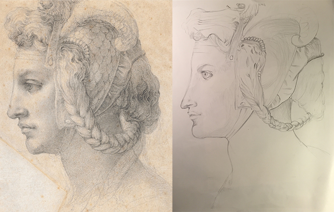 Master Study in Graphite    Left is Original, Right is Graphite Replication
