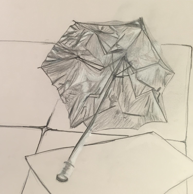 Still Life of Umbrella in Graphite