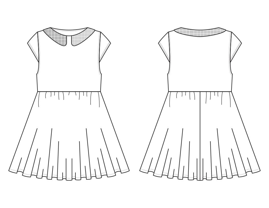 Toddler Girl Dress Technical Flat