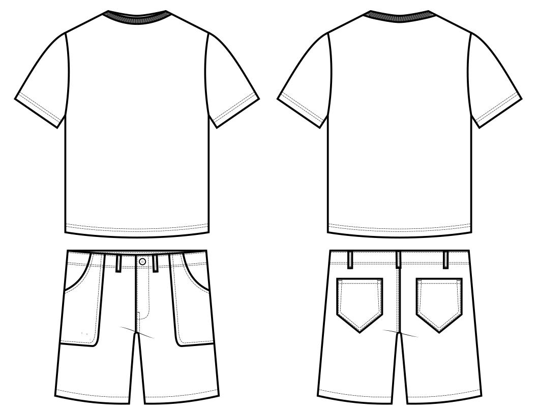 Boy's Shirt and Shorts Technical Flat