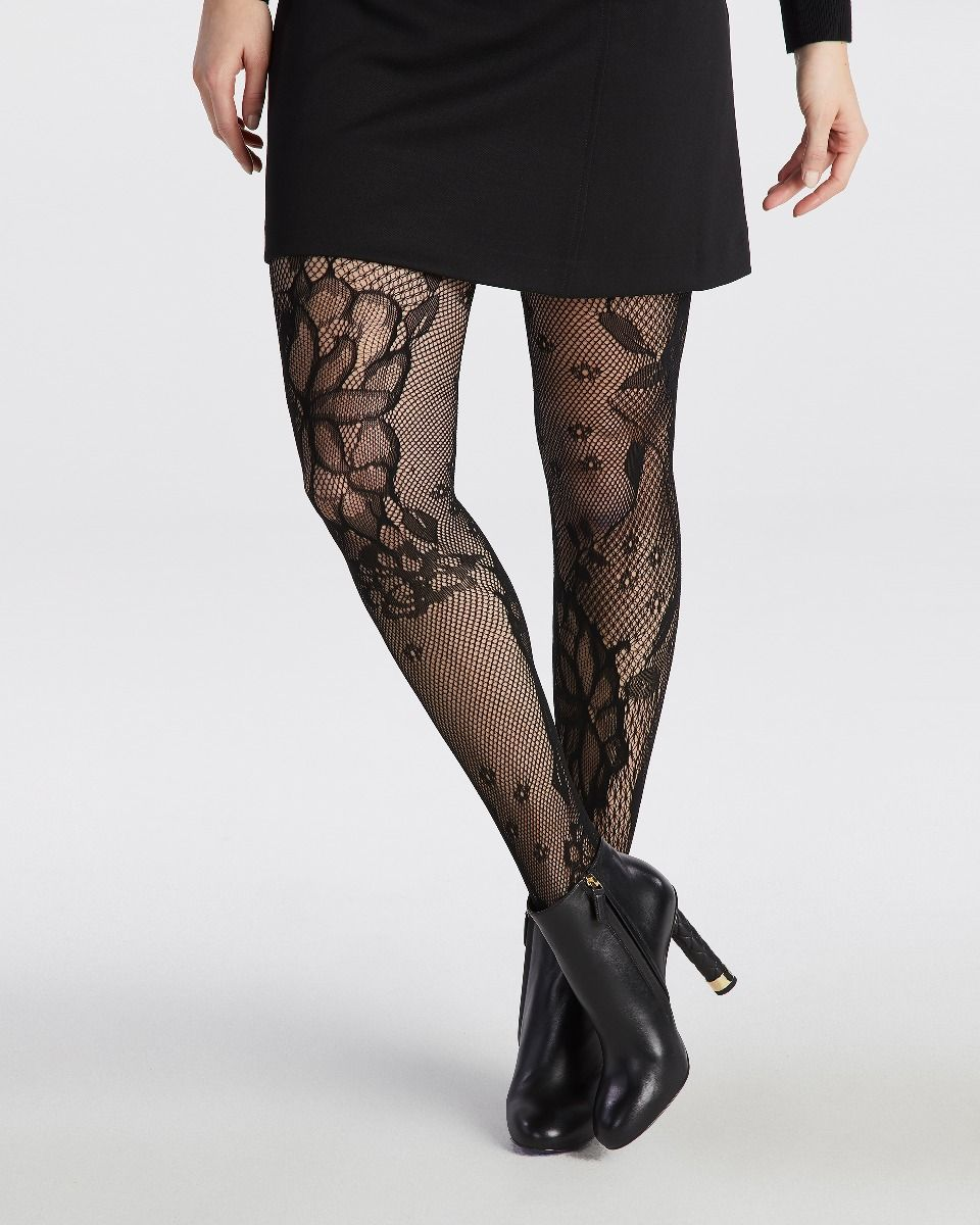 Floral lace fashion tight knit on flat bed. Assisted with motif placement for quality and aesthetic appeal.