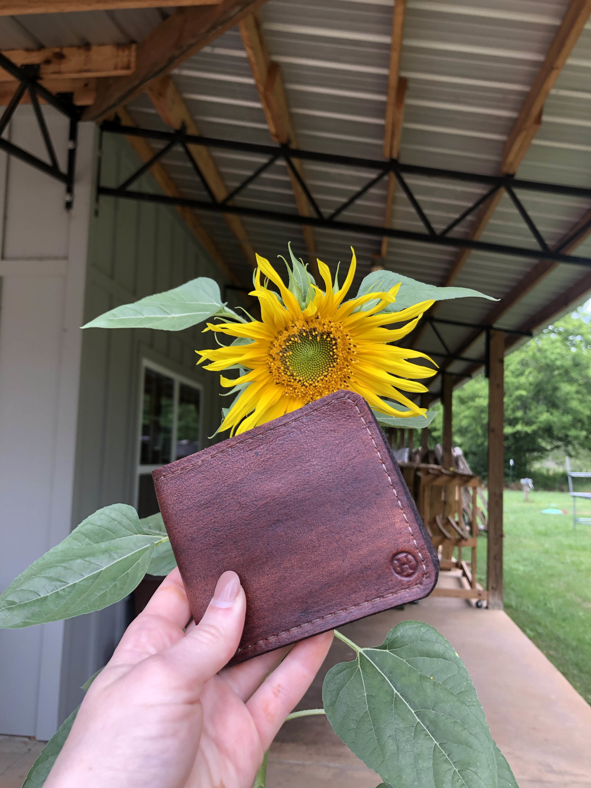 Billfold wallet I designed, flat patterned, prototyped, and made.