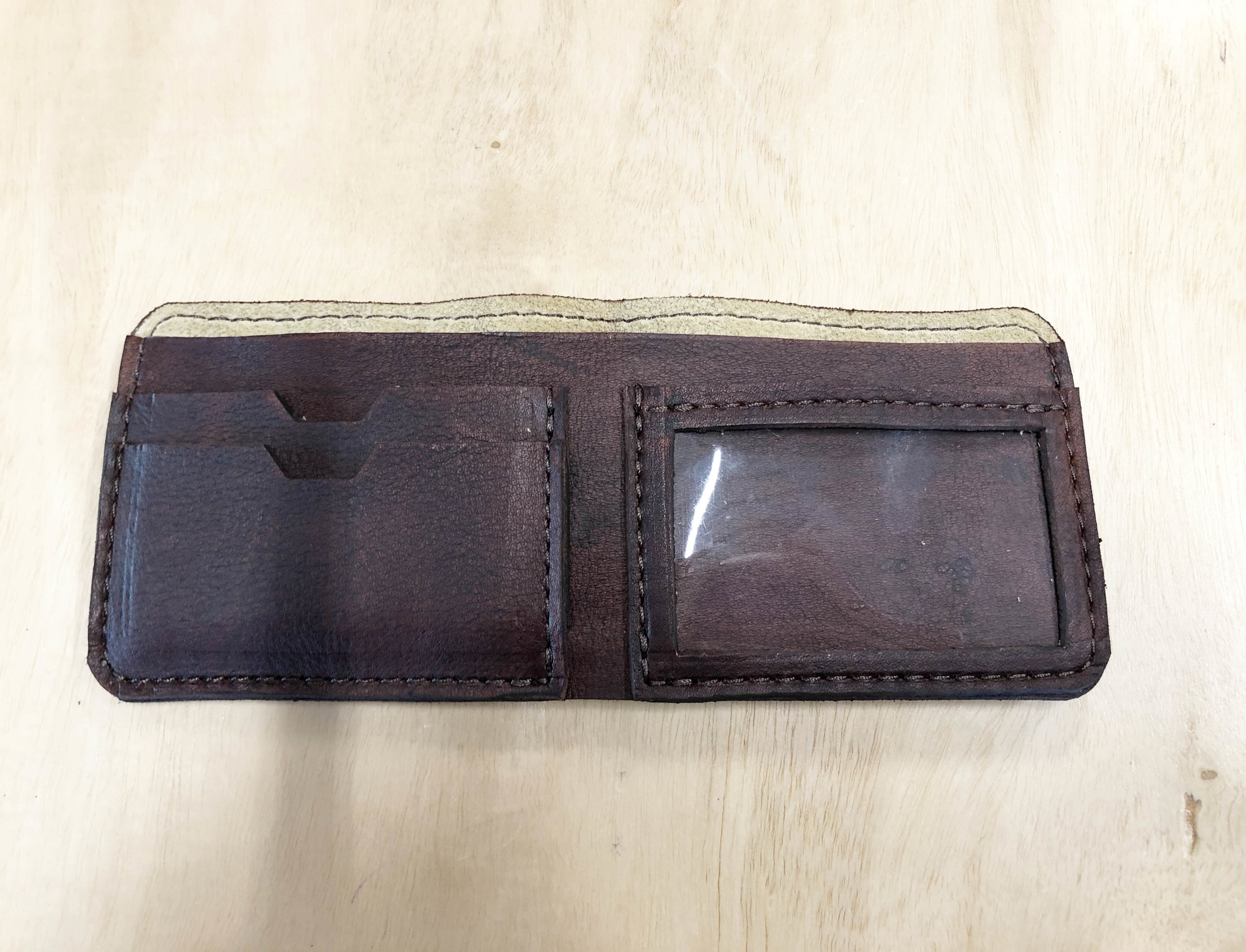 Billfold wallet I designed and patterned. Clear ID window, two card slots, and cash pocket.