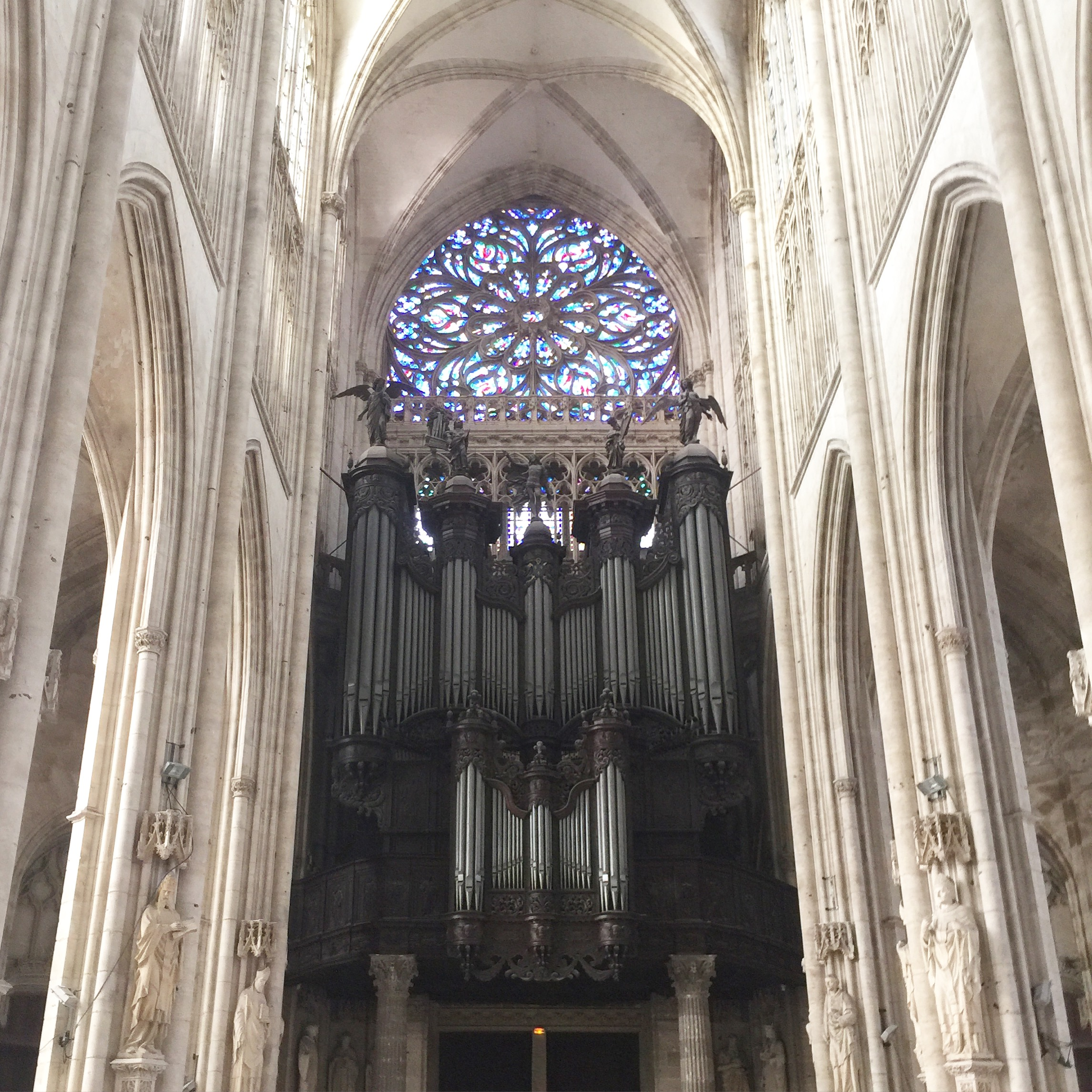 The grand organ and rose window of the Abbey of St Ouen, Rouen