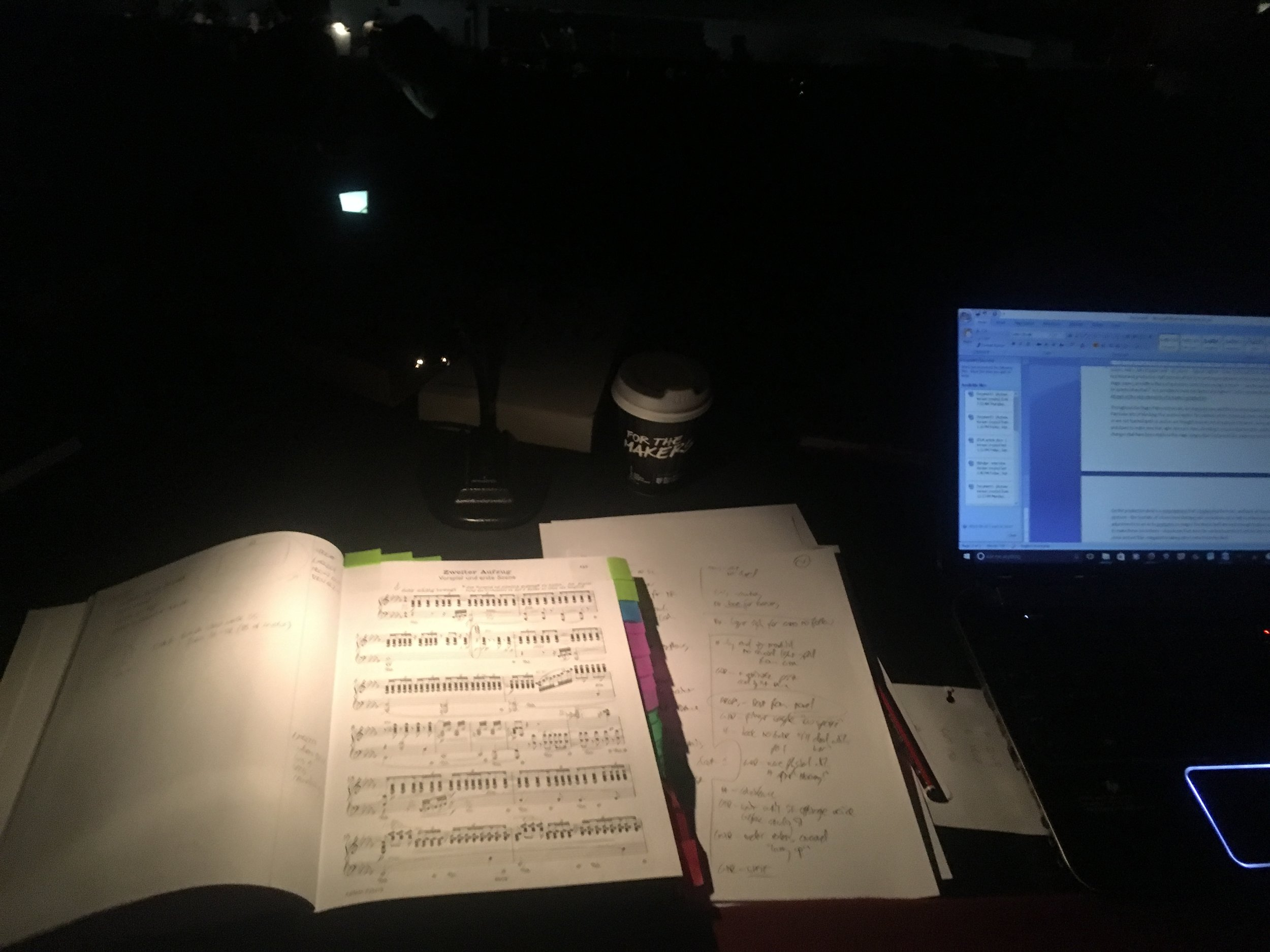 The view from Greg's desk in the theatre