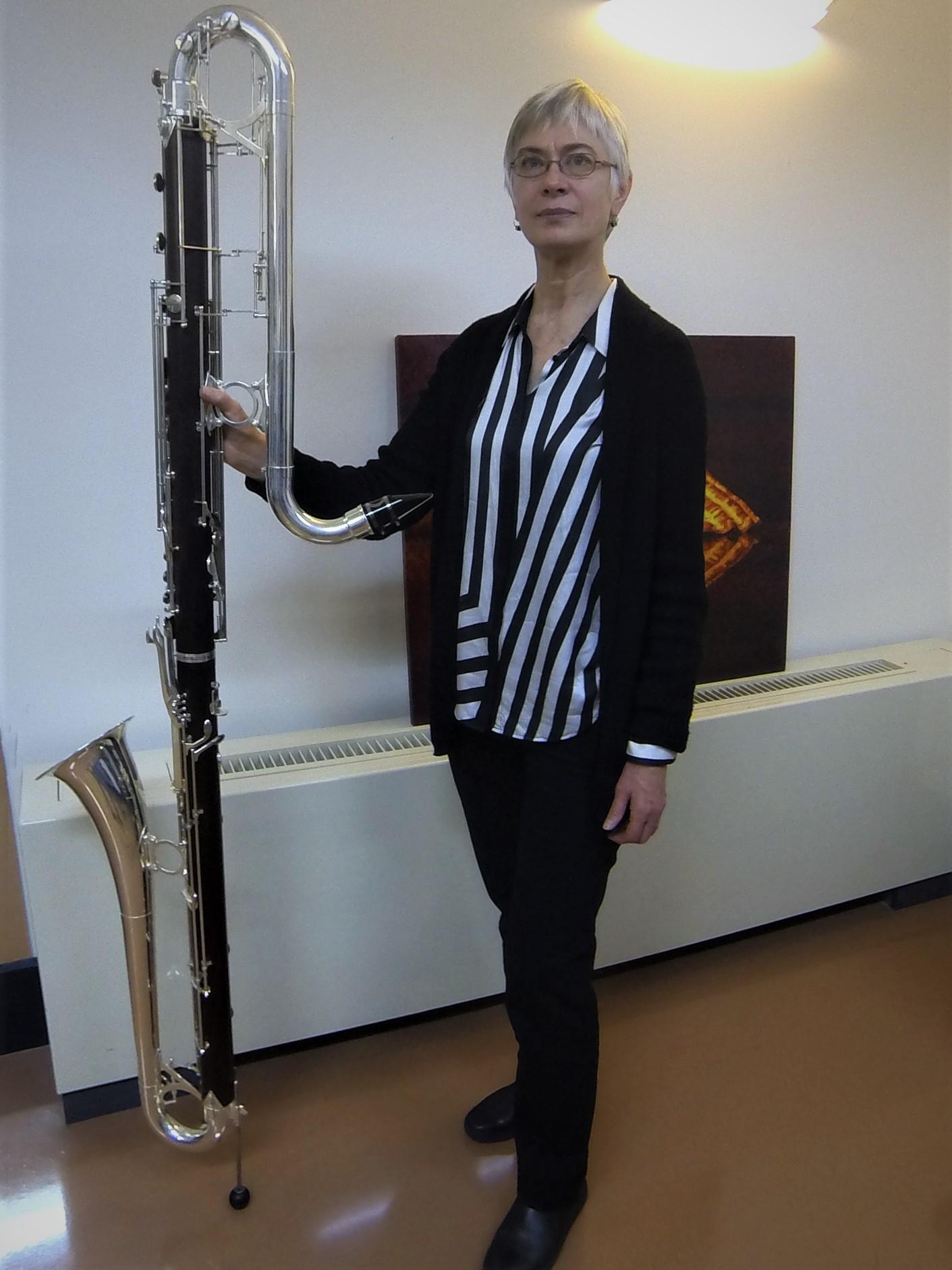 Sue Newsome and the Sydney Conservatorium's contrabass clarinet.