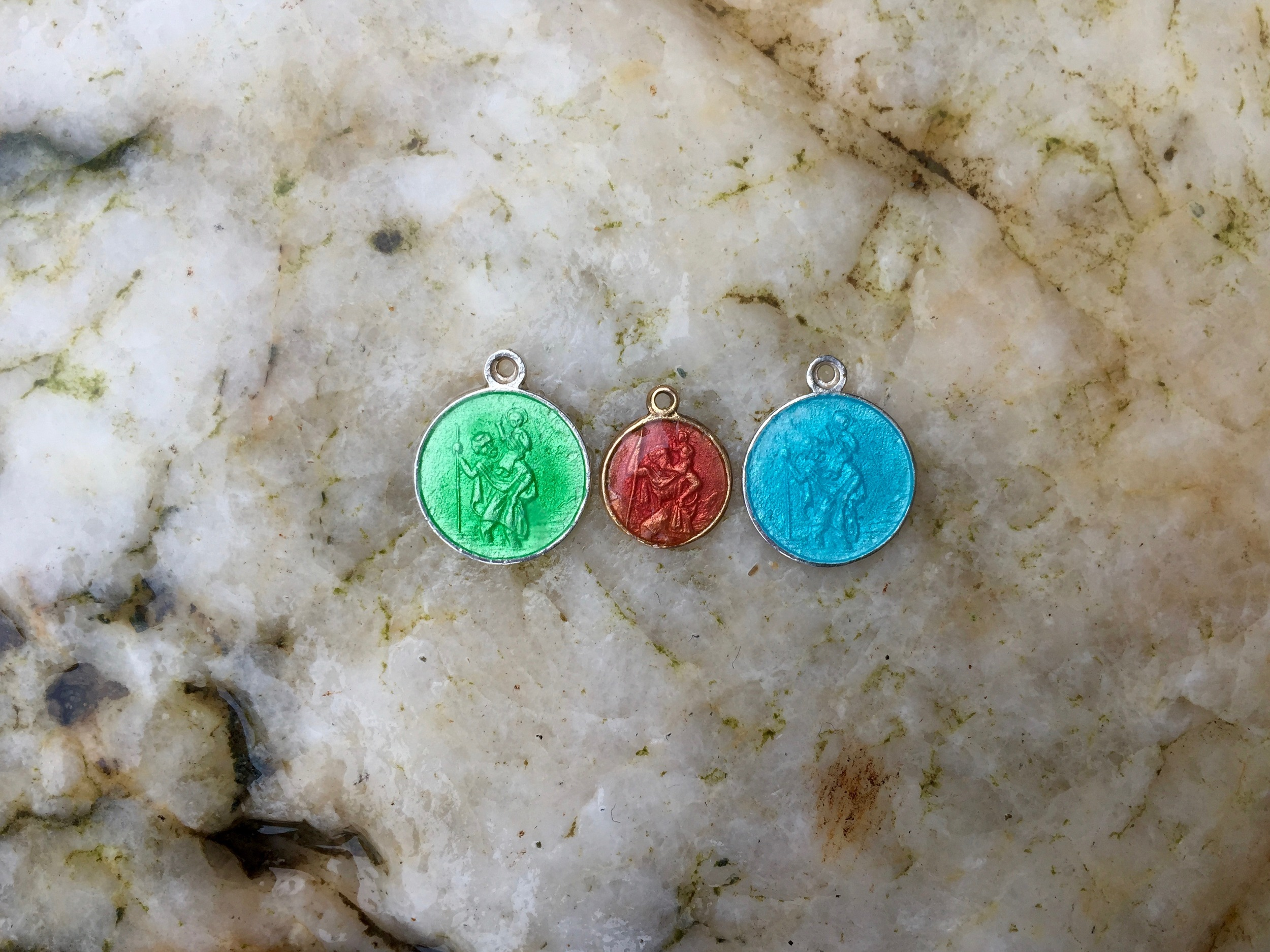 sea green, pink coral & turquoise enameled St christopher charms