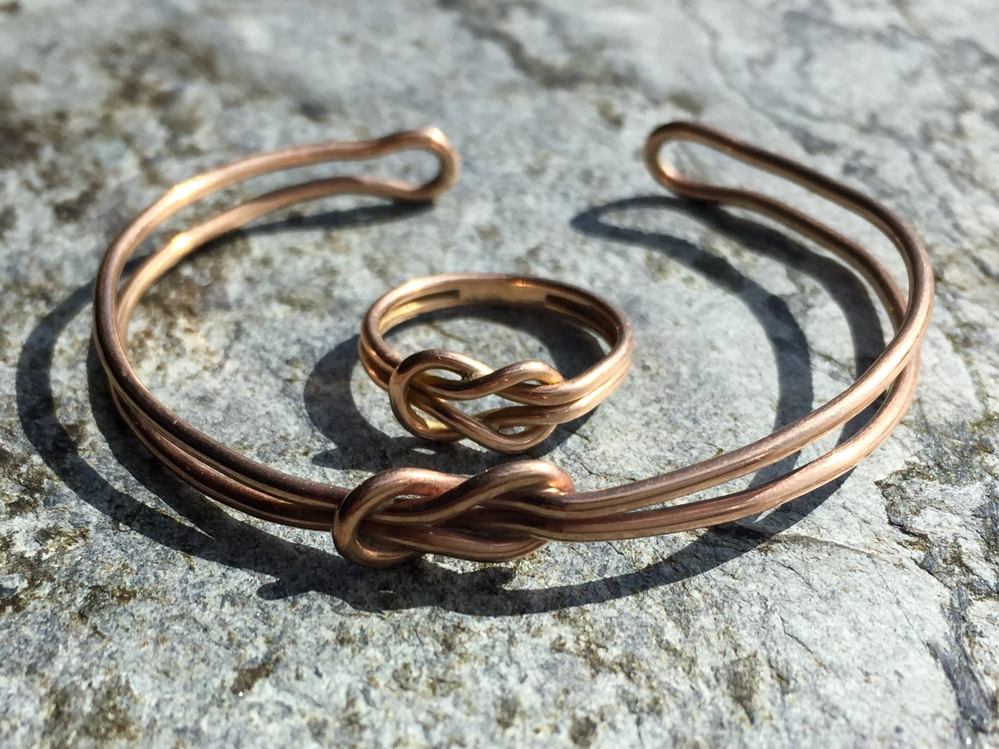 Rose gold reef knot