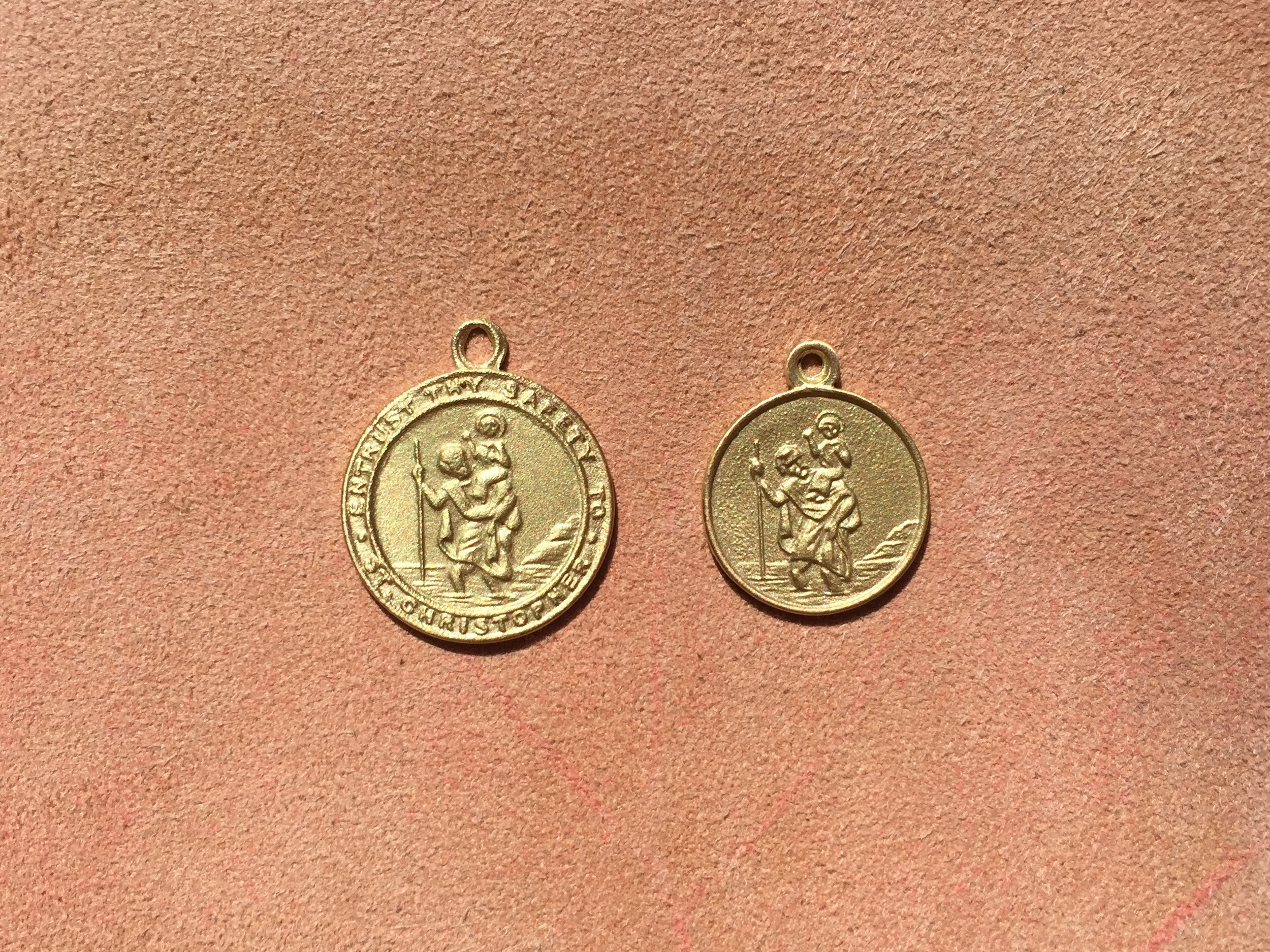 18ct yellow gold st christopher medallions
