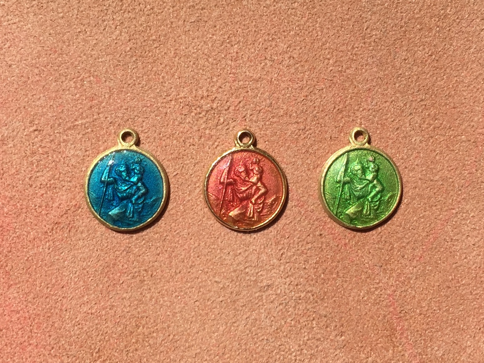deep blue, pink coral & lime green enamelled st christopher's