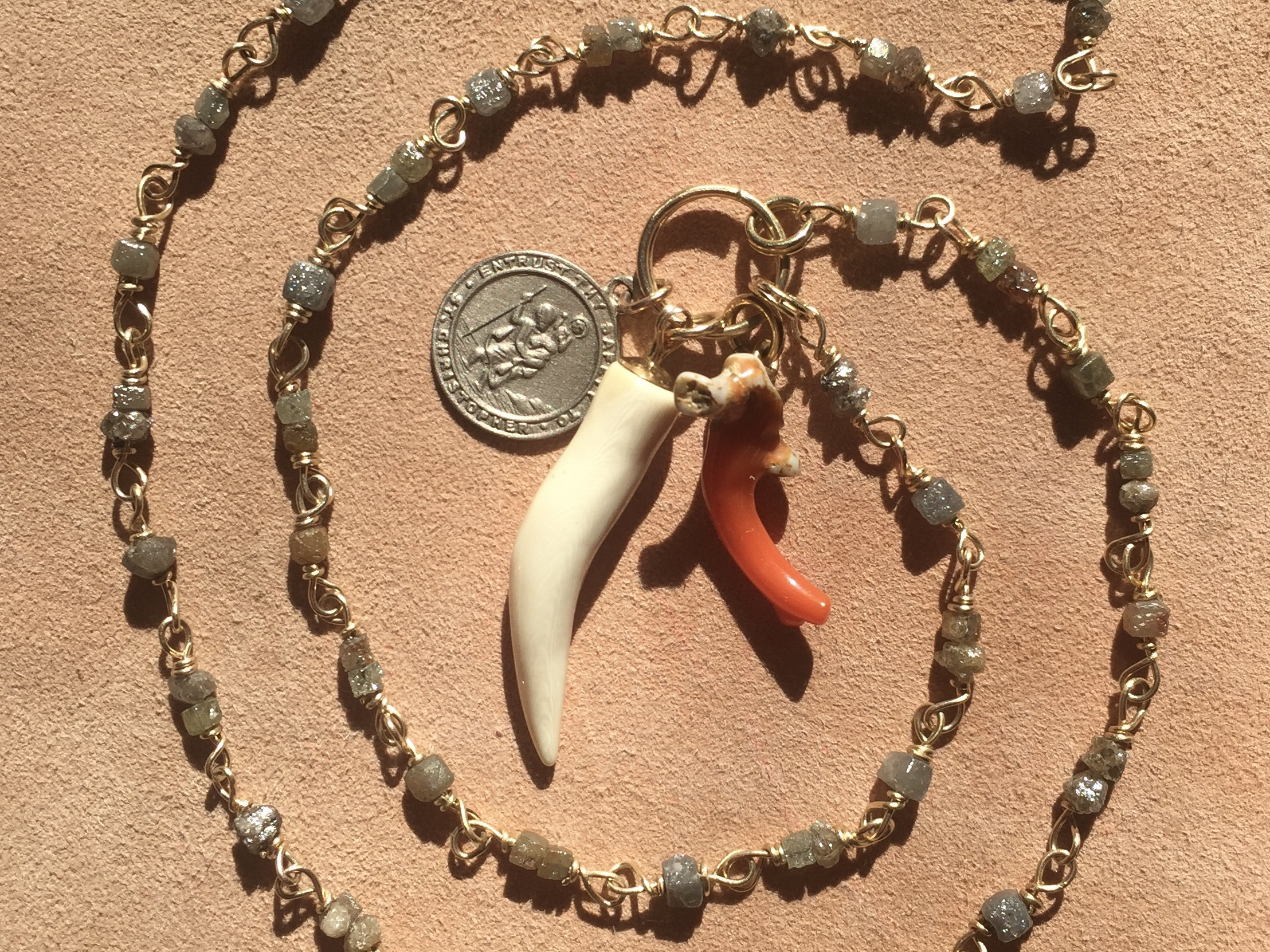 Rough Cut Diamond Chain with Coral, fossil Mammouth Tusk and white gold st christopher