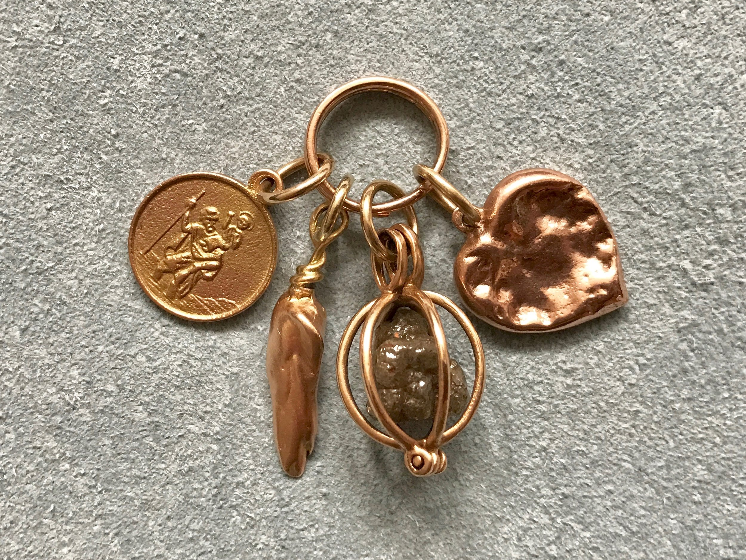 ROSE GOLD ST. CHRISTOPHER MEDALLION, MISSISSIPPI CAST PENDANT ROUGH DIAMOND BASKET AND CHEWED HEART