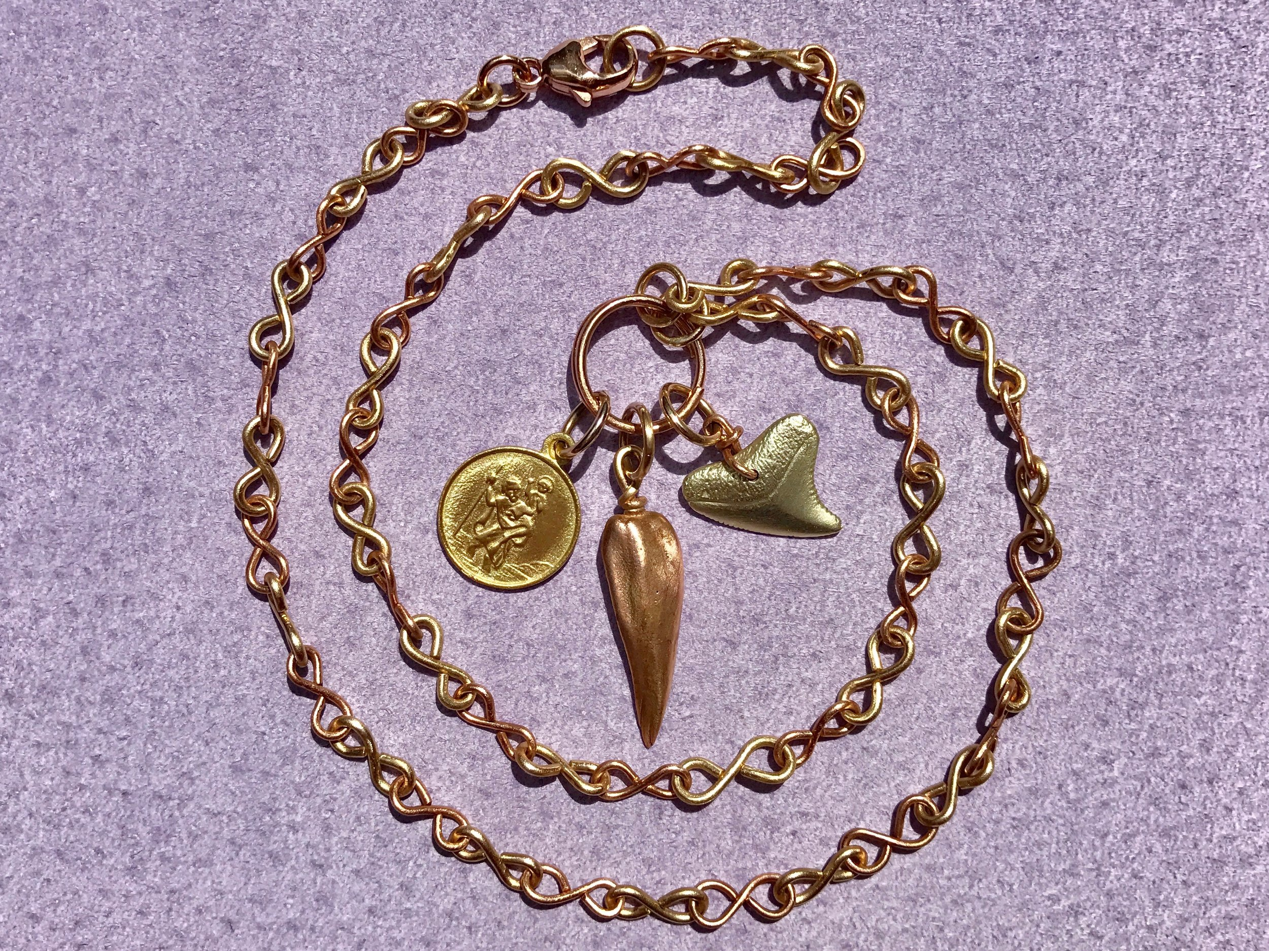 INFINITY CHAIN NECKLACE WITH ST. CHRISTOPHER, MISSISSIPPI CAST PENDANT AND SHARKS TOOTH