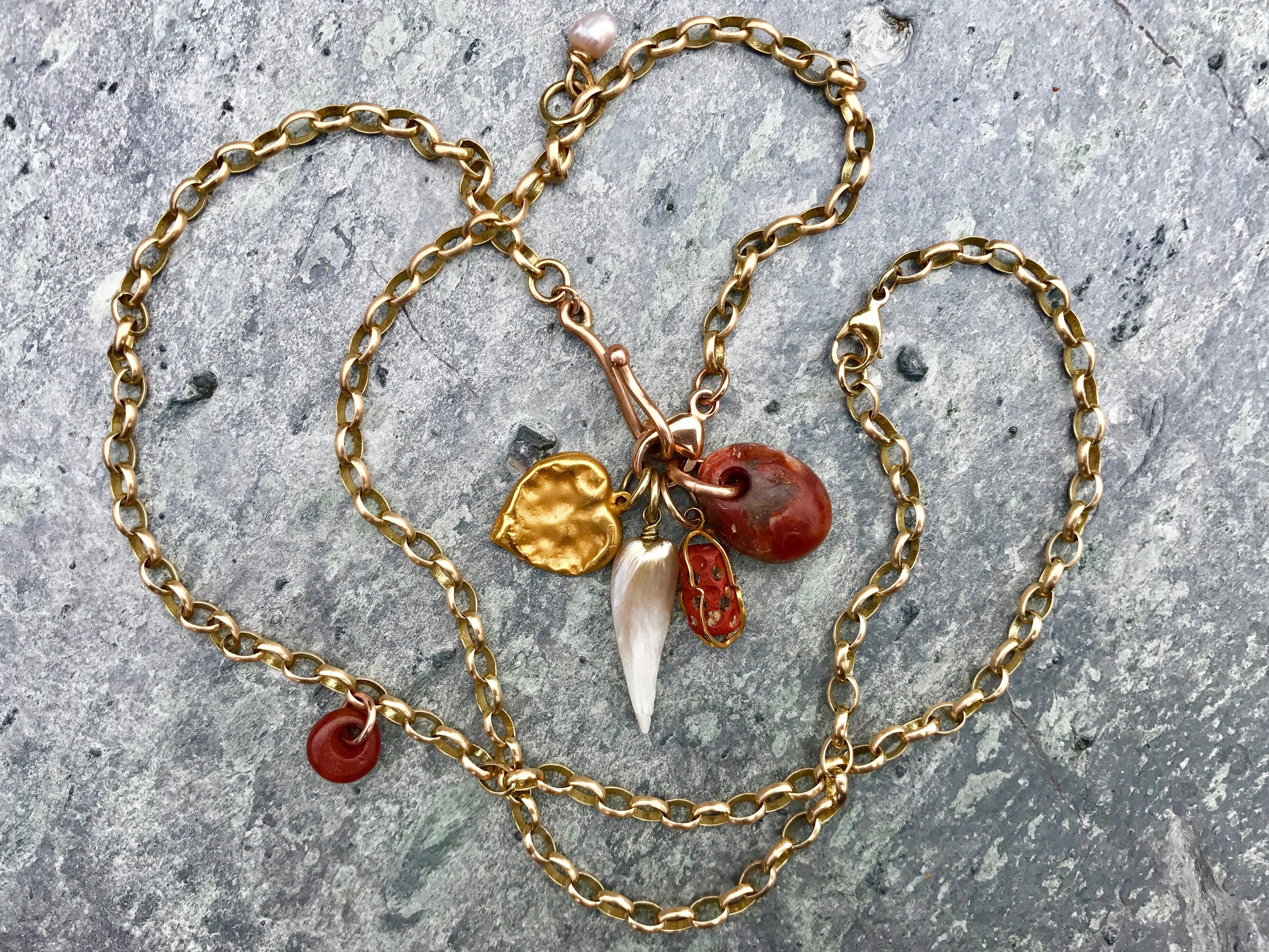 Belcher Chain, heart, pearl, ancient stone Necklace by Tara Turner .jpg